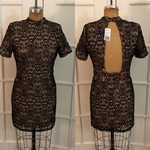 NWT nude and black crochet lace open back dress